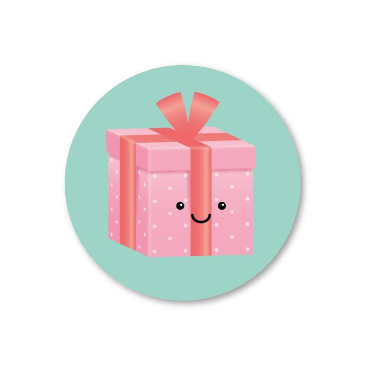 roze kadootje | 5 ronde stickers