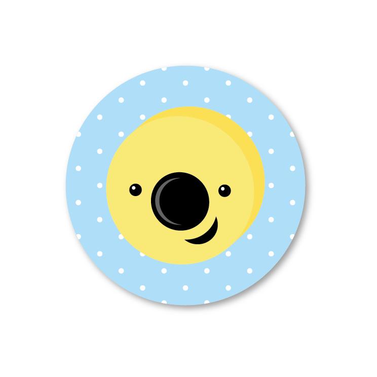 Engelse drop kokosrondje   5 ronde stickers