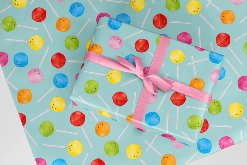 lolly's met mintgroene achtergrond | inpakpapier