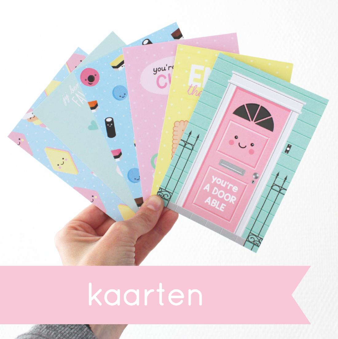 grappige schattige vrolijke kaarten