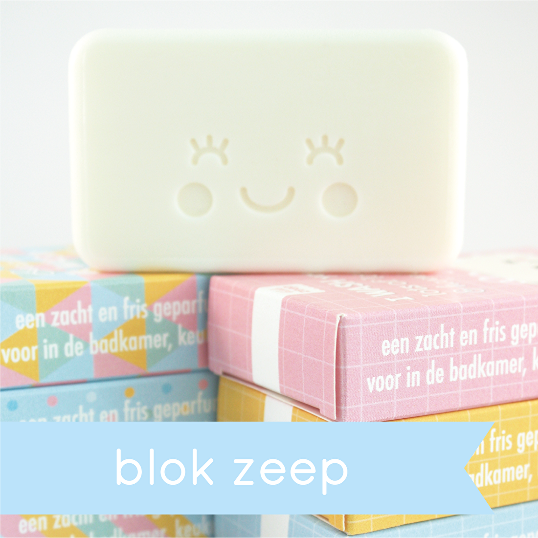 blok zeep in vrolijke verpakking