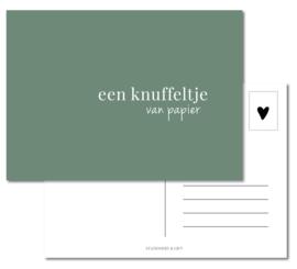 Kaart | Knuffeltje van papier Eucalyptus Green