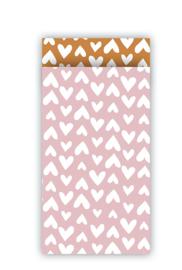 5 Cadeauzakjes Pink & White Hearts | X Small