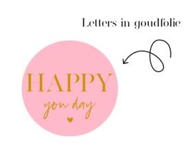 Stickers   Per 10 stuks   Happy you day Bright Pink