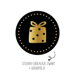 Stickers   Per 10 stuks   Cadeautje Zwart met Strik!