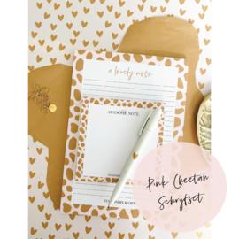 Aanbieding | Pink Cheetah Schrijfset