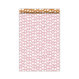 5 Cadeauzakjes Pink & White Hearts | Medium