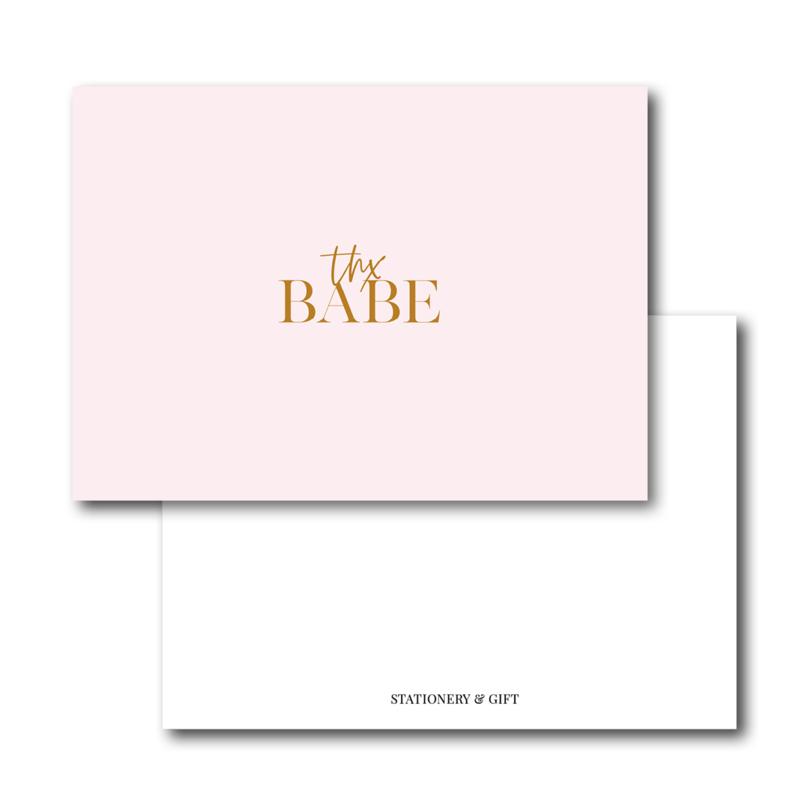 Mini Kaart   Thx Babe   Pink