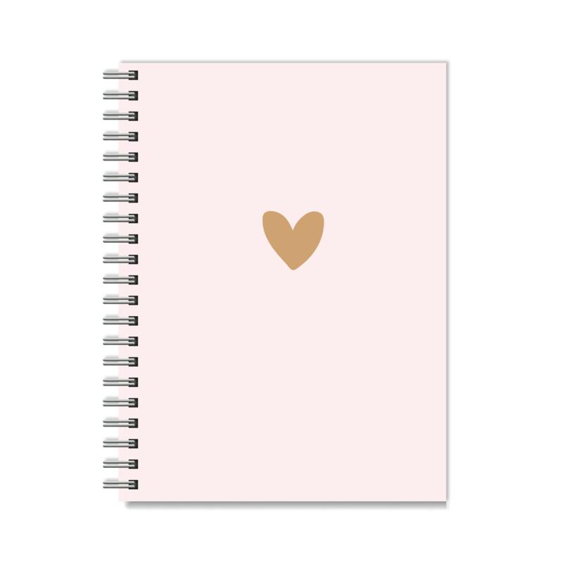 Notitieboek met elastiek naar keuze!   Pink & Brown Heart