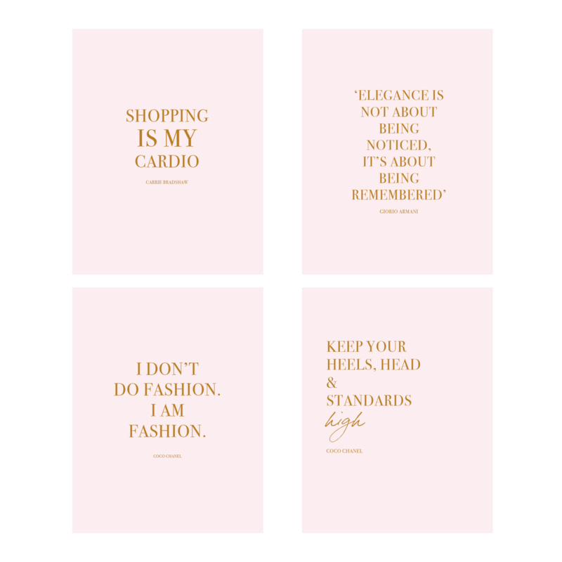 Fashion Quotes Kaarten Set  | 4 stuks