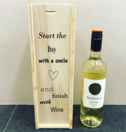 Wijn-Bierkistje Start the day with a smile and finish with Wine