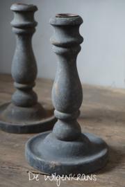 Houten kandelaar verweerd grijs