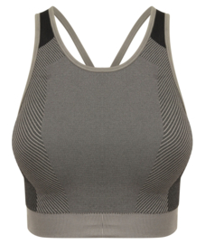 SEAMLESS CROSS CROPTOP GREY/BLACK
