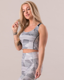 ICIW WHITE CAMO / MESH CROP TOP