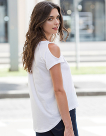 OPEN SHOULDER T-SHIRT WHITE