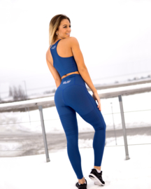 GAVELO PLAIN BLUE SUEDE FITNESSLEGGING (COMPRESSION)