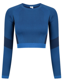 SEAMLESS CROPPED LONGSLEEVE BLUE/NAVY
