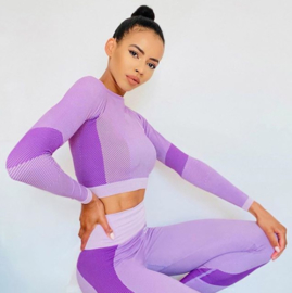 SEAMLESS CROPPED LONGSLEEVE PURPLE/PINK