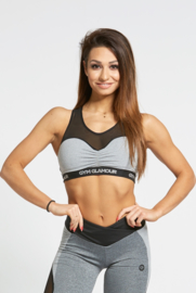 GYM GLAMOUR | GREY MESH TOP