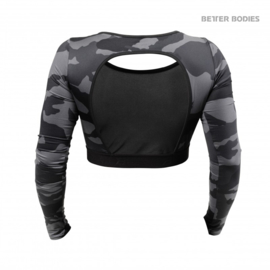 BETTER BODIES CHELSEA CROPPED TOP DARK CAMO