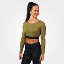 BETTER BODIES CHELSEA CROPPED TOP ARMY GREEN