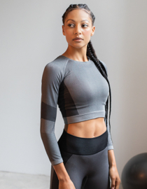 SEAMLESS CROPPED LONGSLEEVE GREY/BLACK