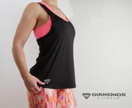DIAMONDS GIA TANKTOP IN BLACK  OF NEON PINK