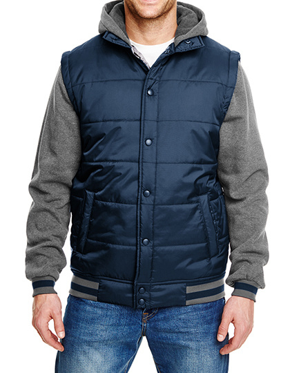 BURNSIDE HOODED BOMBERJACK NAVY/GREY