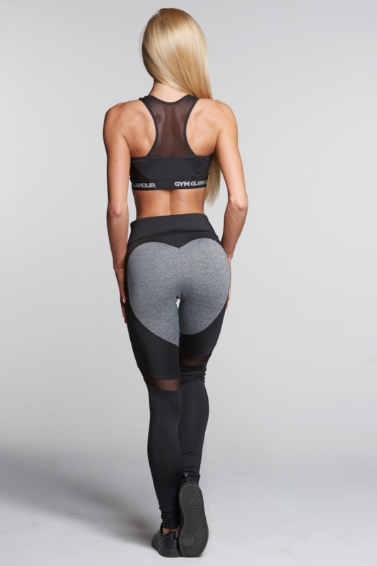 GYM GLAMOUR | BLACK & GREY HEART FITNESSLEGGING