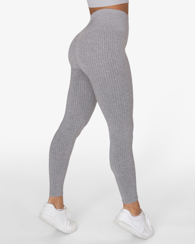 GAVELO SEAMLESS RIBBED FITNESSLEGGING LIGHT GREY MELANGE
