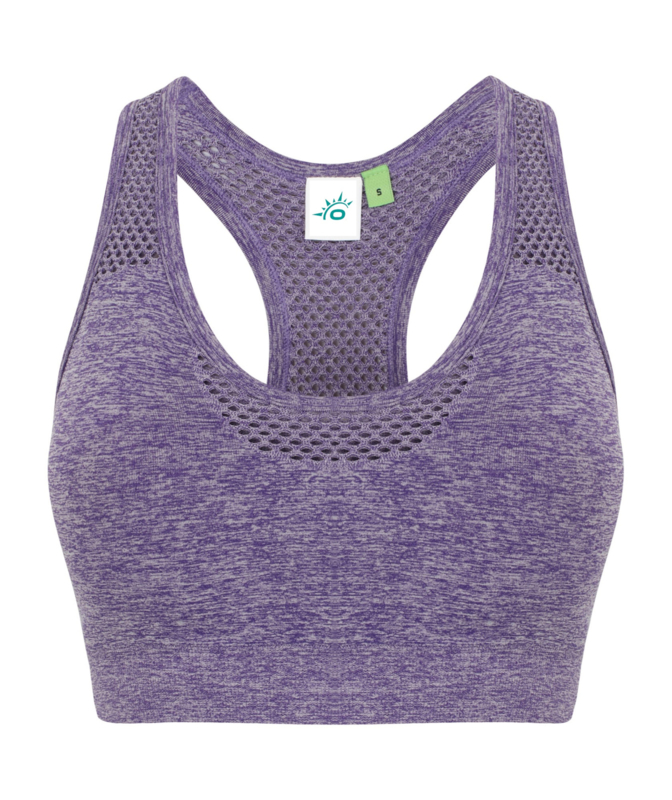 SEAMLESS CROPPED MESH SPORTTOP PURPLE MELANGE