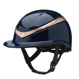Charles Owen Halo Luxe Navy Gloss Rose Gold Brede Klep