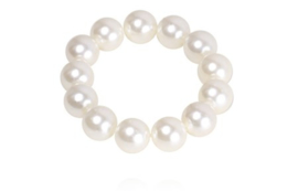 SD Large Pearl scrunchie, Creme. J-178