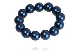 SD Large Pearl scrunchie, Navy. J-178