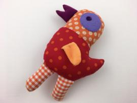 Vogel rood oranje paars