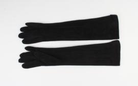 Lange Elegante Handschoen Zwart Suedelook