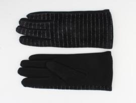 Handschoen Zwart Velours met Glans Streep