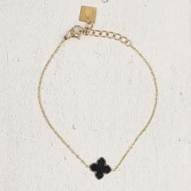 Zag Bijoux Armband zwart klavertje