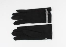Handschoen Zwart met Pied de poule geruit biesje