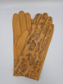 Handschoen Lak Motief Okergeel Snake