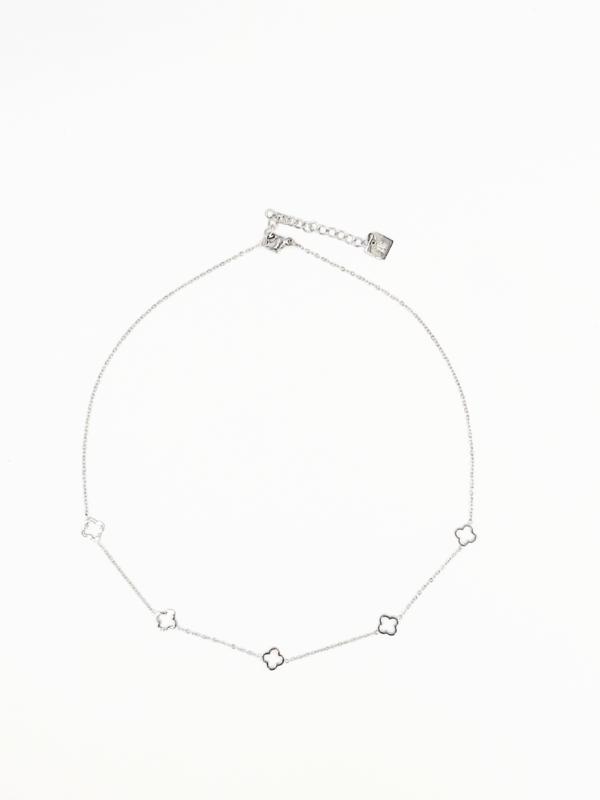 Zag Bijoux ketting open klavertjes zilver