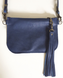 DONKERBLAUW ECHT LEER MINI TAS - CROSS BODY