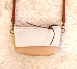 BEIGE GRIJS LEREN MINI TAS - CROSS BODY