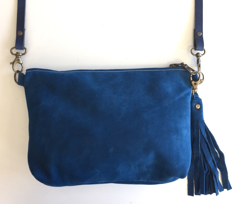 BLAUW SUEDE LEER TAS - CROSS BODY