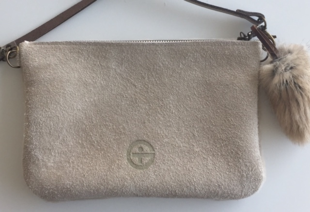 BEIGE VOGEL SCHAPENVACHT LEREN CROSS BODY TAS