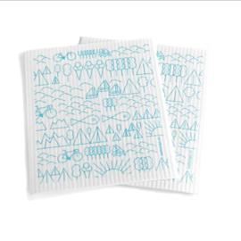 Babongo biodegradable dish cloth Travel blue on white