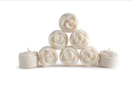 25 theelichtjes ROSES 4 branduren van koolzaadwas