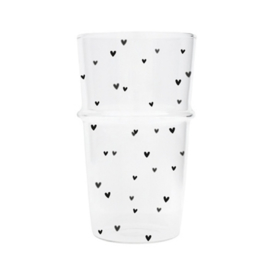 Bastion Collections Latte glas HEARTS - ZWART