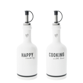 Bastions Collections Fles HAPPY COOKING - ZWART