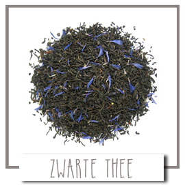 Losse thee. Zwarte losse thee puur of geamortiseerd met bloemen of vruchtjes.